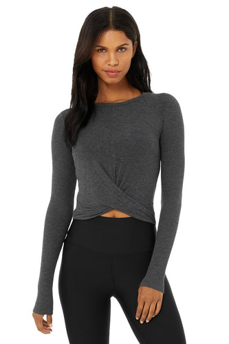 ALO COVER LONG SLEEVE TOP ANTHRACITE GRAY