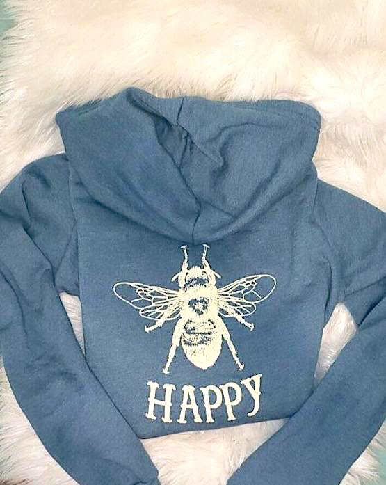 BEE HAPPY ZIP UP HOODIE VINTAGE BLUE WITH CREME BEE