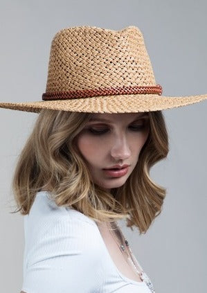 RUGGINE FEDORA BOHO CHIC HAT WITH BEADED TRIM