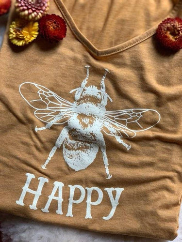 BEE HAPPY SLEEVELESS TEE SHIRT V NECK GOLD