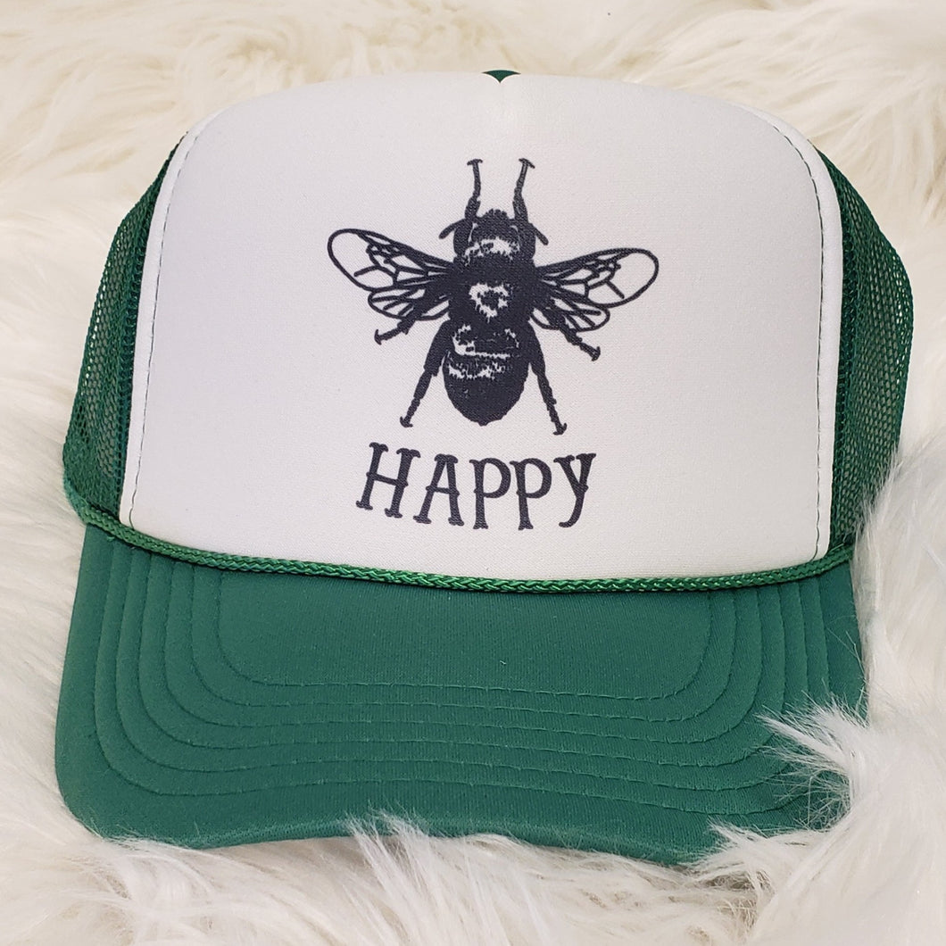 BEE HAPPY TRUCKER HAT
