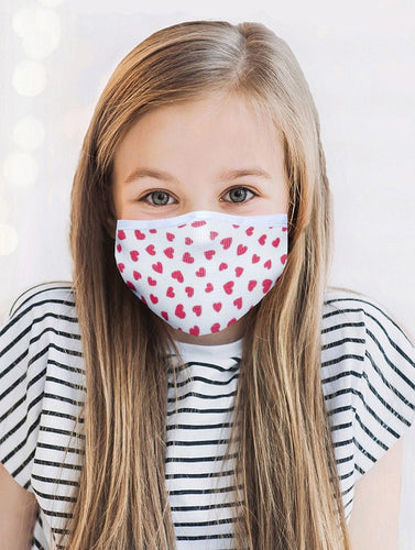 KIDS FACE MASK RED HEARTS