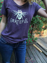 BEE HAPPY SCOOP NECK DOLMAN TEE VINTAGE PURPLE