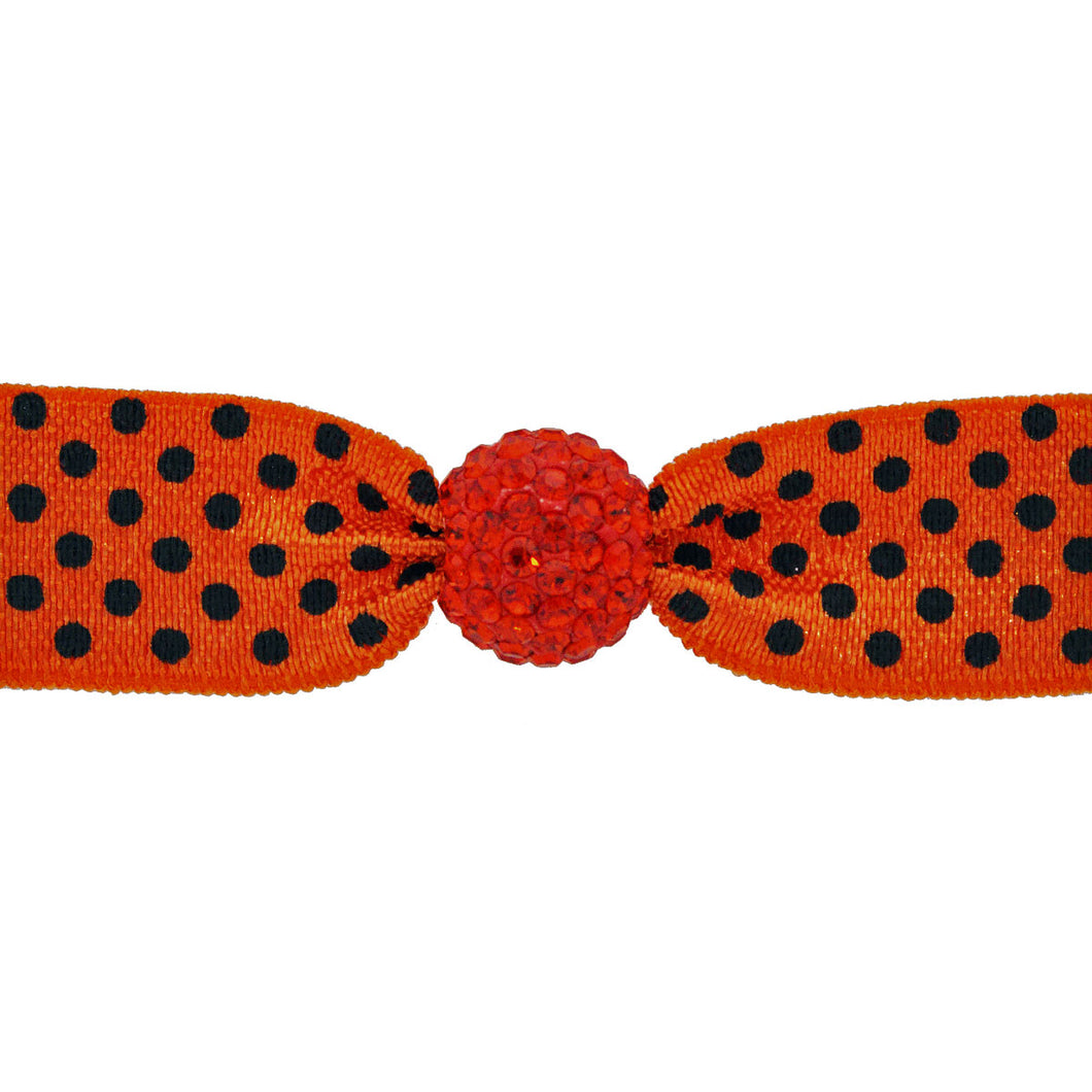 EMI JAY CRYSTAL BEAD HAIR TIE- ORANGE/ BLACK DOT