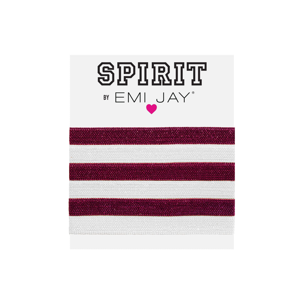 EMI JAY SPIRIT HAIR TIES 6 PACK- BURGUNDY & WHITE