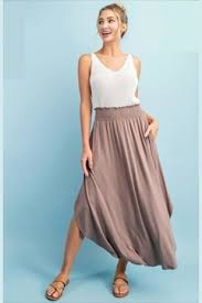 EESOME SMOCKED MAXI SKIRT TAUPE