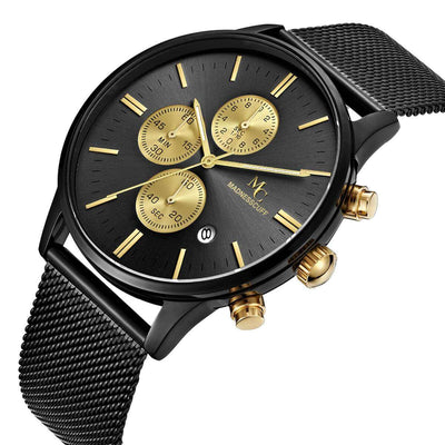 black chrono man watch