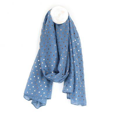 Denim blue scarf with rose gold print - Gift - BoxTree