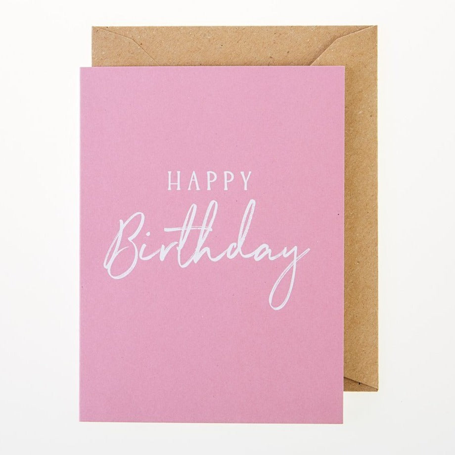 Happy Birthday Card (Pink) - Greeting Card - BoxTree