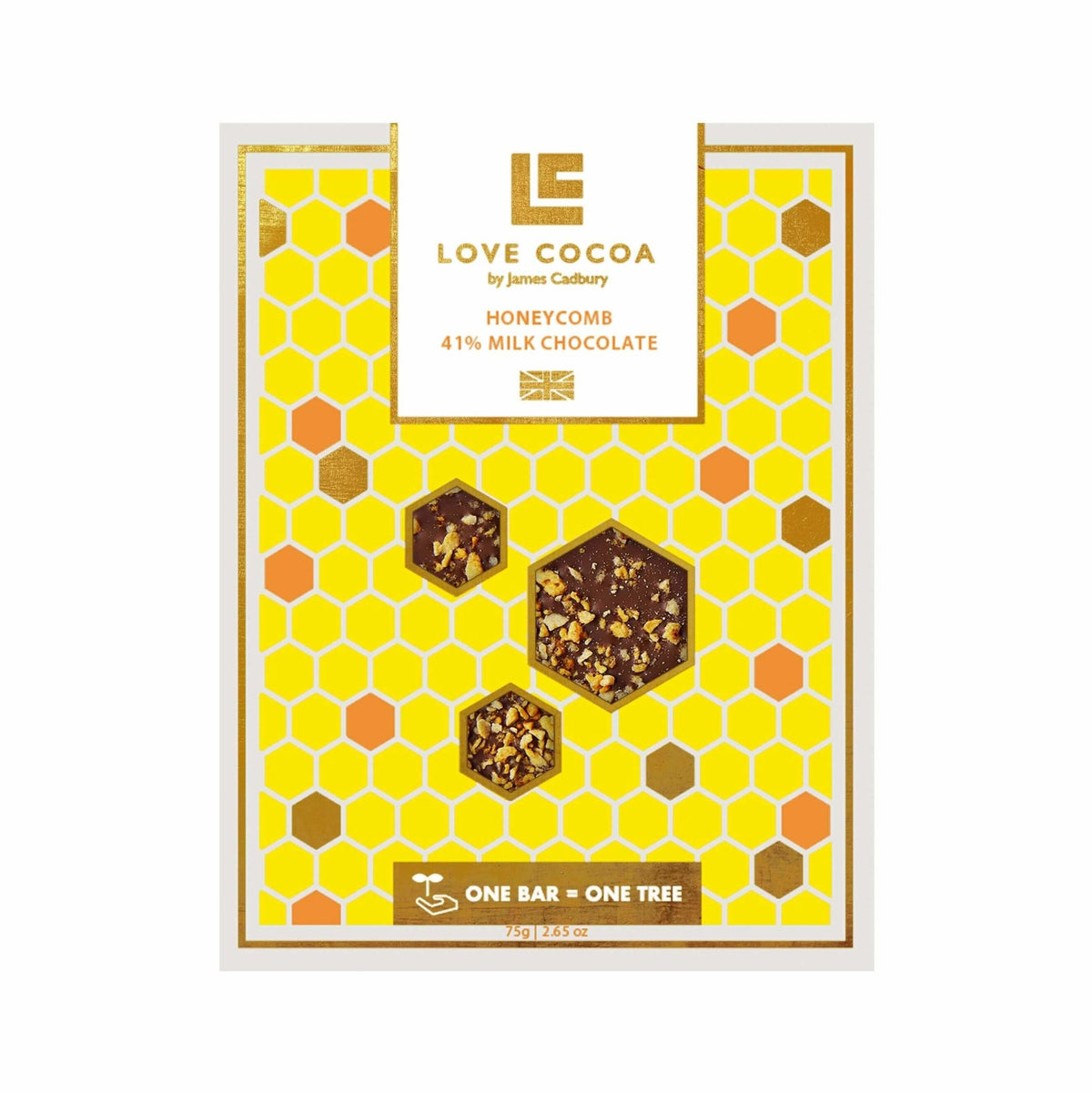 Love Cocoa | Honeycomb Organic Milk Chocolate Bar | BoxTree | Send a Gift