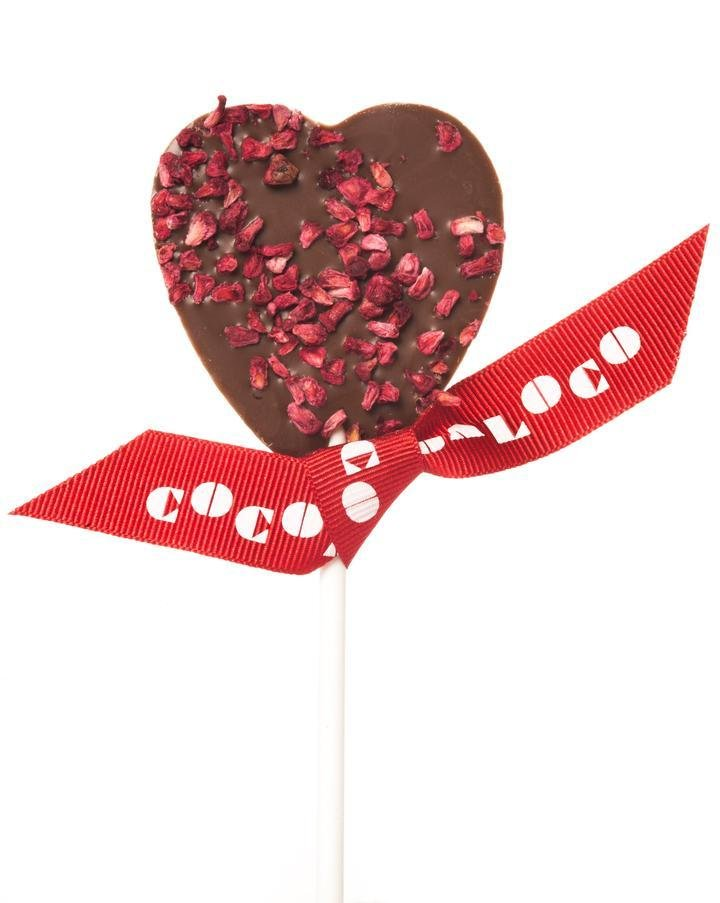 Milk Chocolate & Raspberry Heart Lolly - Single Gift - BoxTree