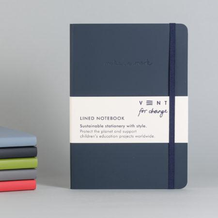 Vent For Change | Navy Recycled Leather Notebook A5 | BoxTree | Send a Gift