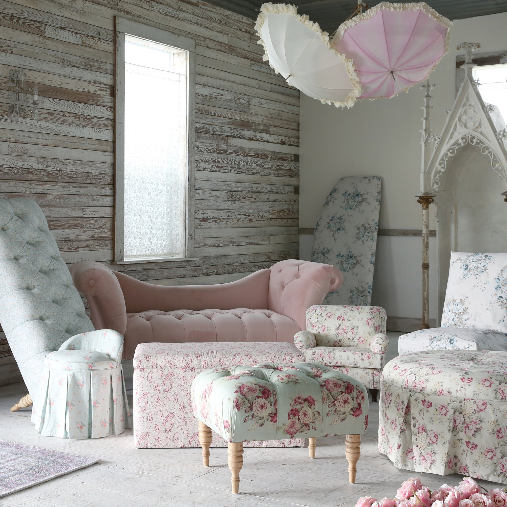Shabby Chic Furniture Floyd Tufted Bench More Colors