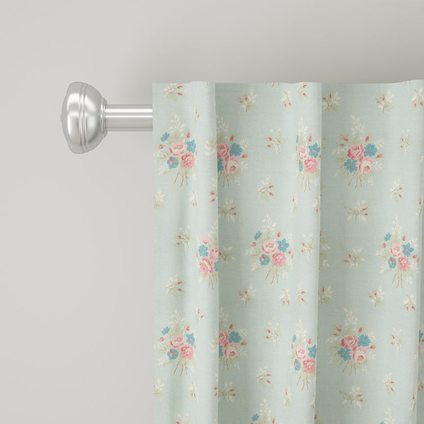 Shabby Chic Curtain Collection - Anastasia Blue - Blackout