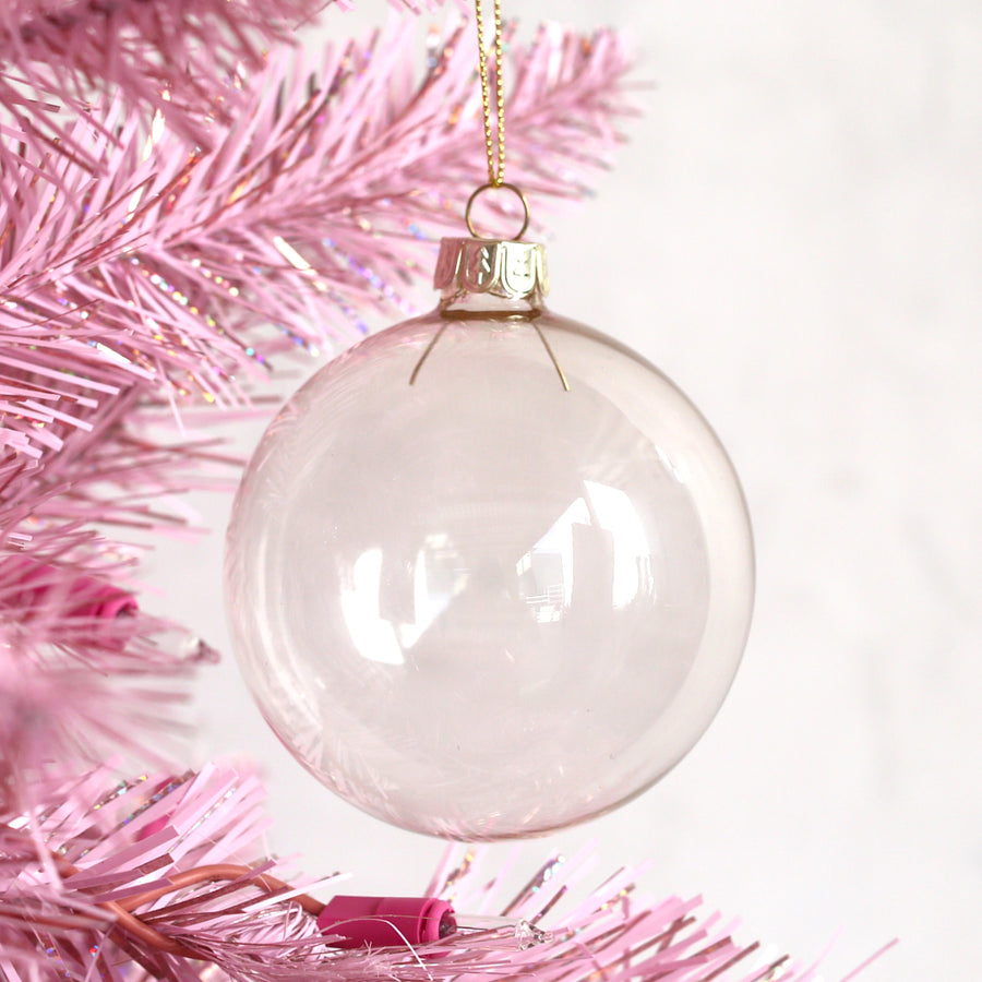 30% OFF Glass Ball Ornament - Clear Champagne