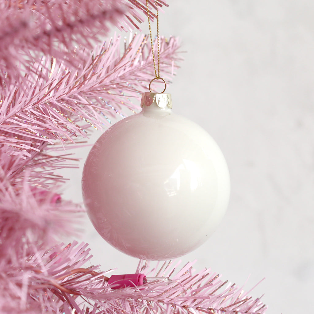 Glass Ball Ornament - Soft White