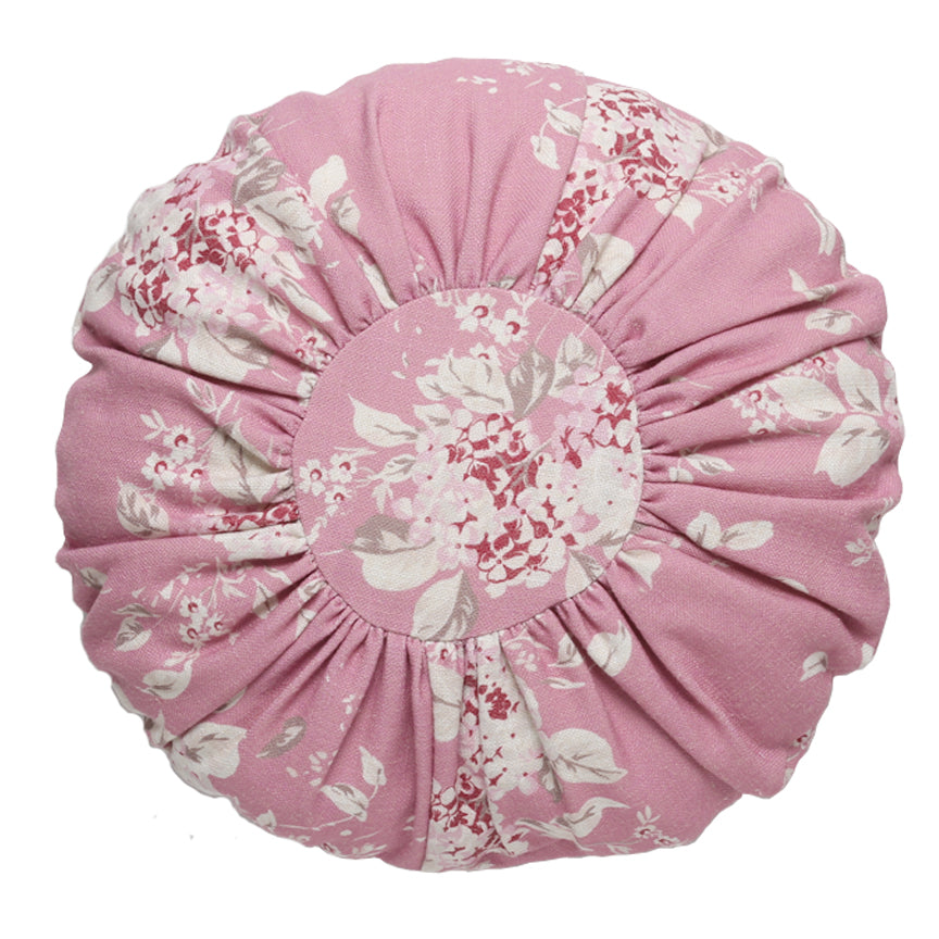 Round Berry Bloom Linen Pillow