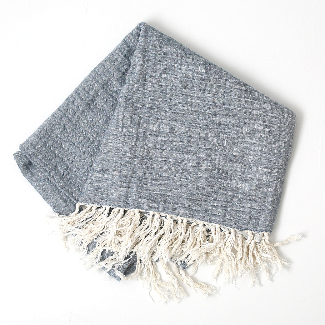 20% OFF Linen Tassel Throw in Blue