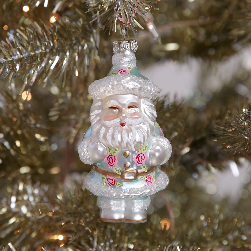Floral Santa Ornament- Blue