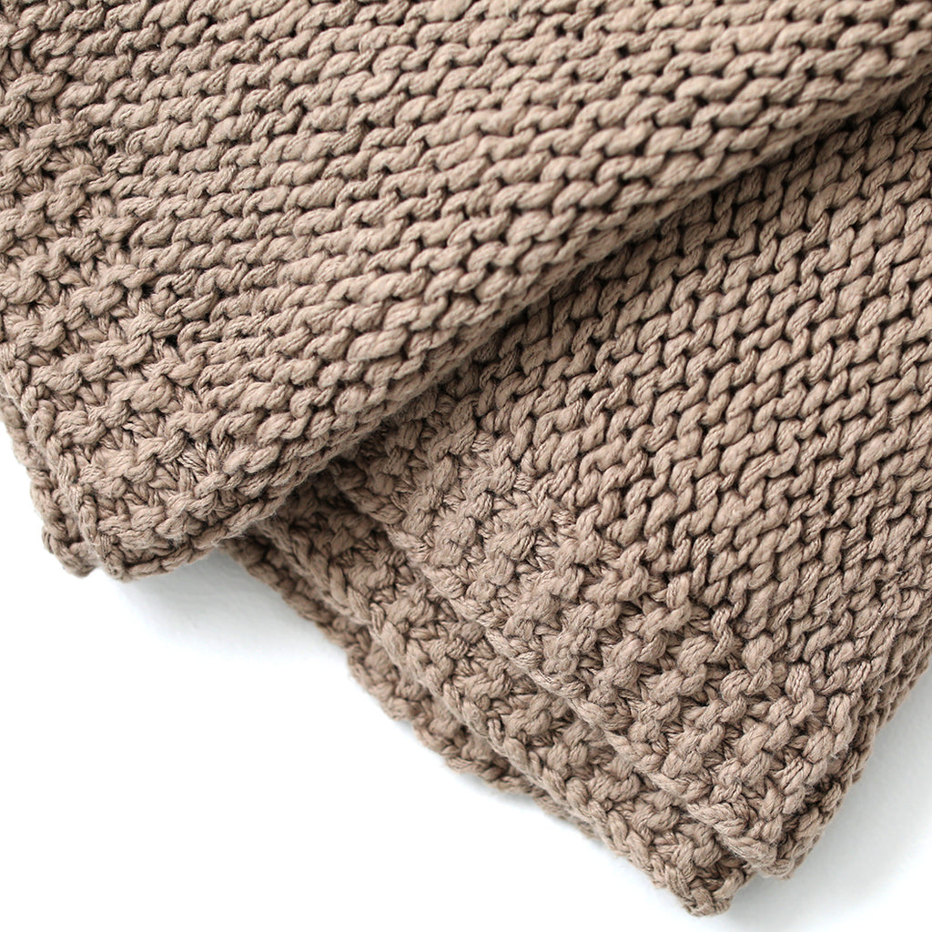 Slubby Cotton Knit Throw - Stone