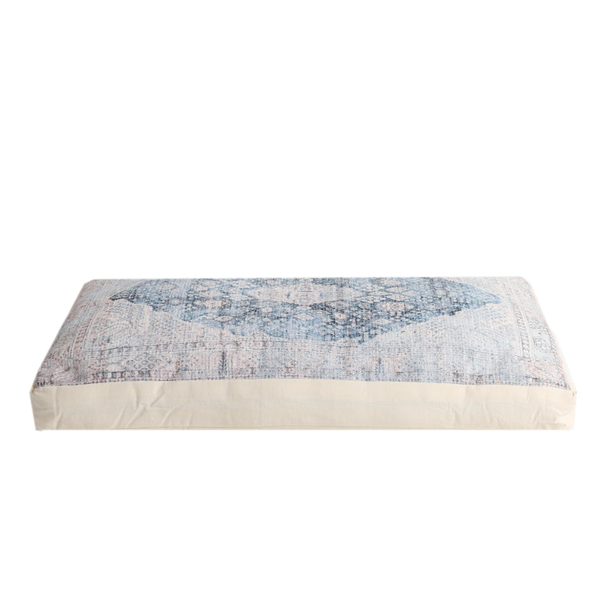 Cameron Oversized Floor Pouf & Pet Bed - Ivory Blue