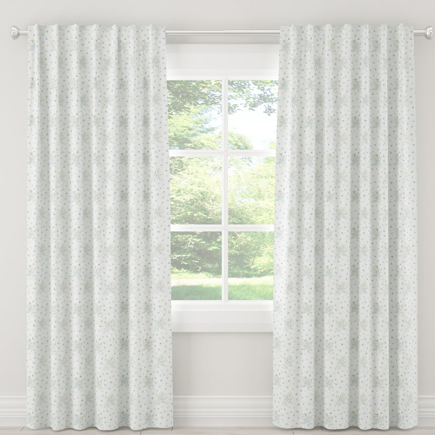 Shabby Chic Curtain Collection - Clover Floral Blue - Blackout
