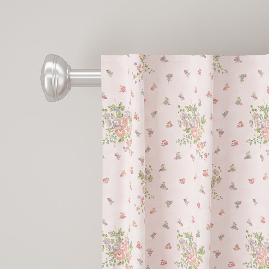 Shabby Chic Curtain Collection - Clover Floral Pink
