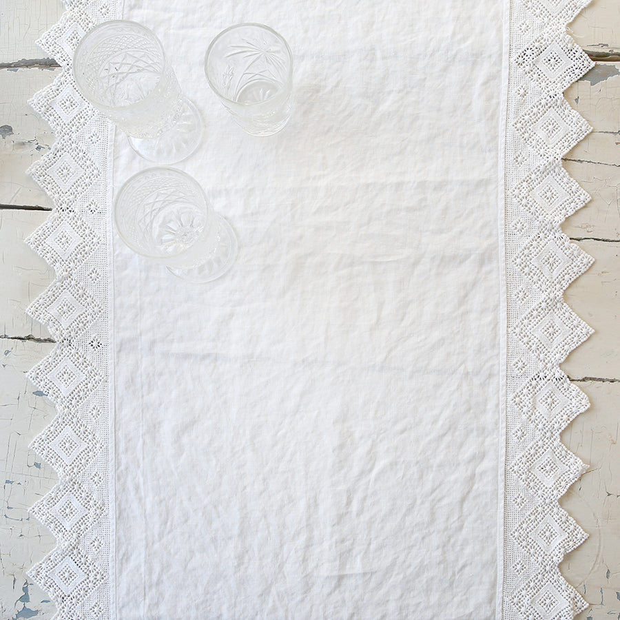 Cluny Lace White Table Runner - SOLD