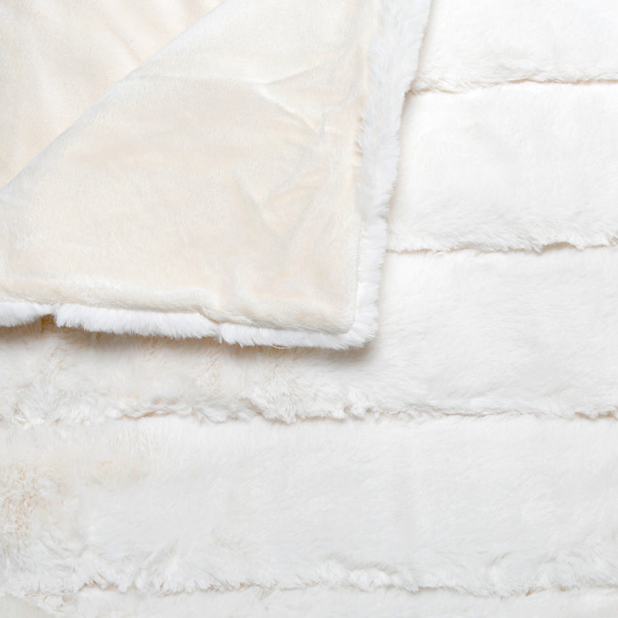 Fancy Faux Fur Throw - Ivory
