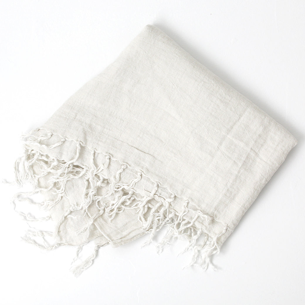 Linen Tassel Throw in White