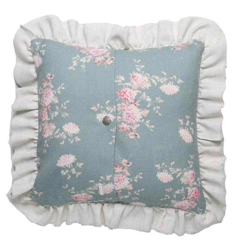 Raw Edge Dancing Dahlias Linen Ruffle Pillow