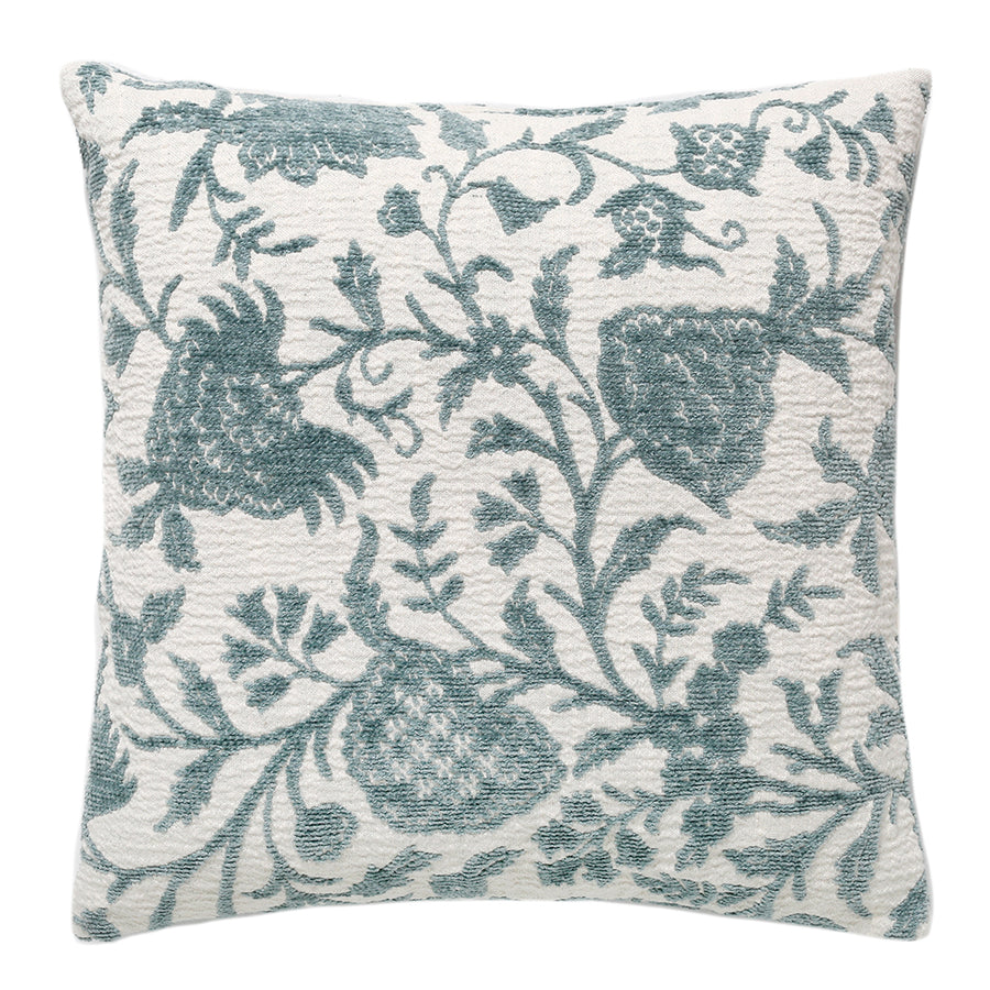 Blue Damask Chenille Pillow