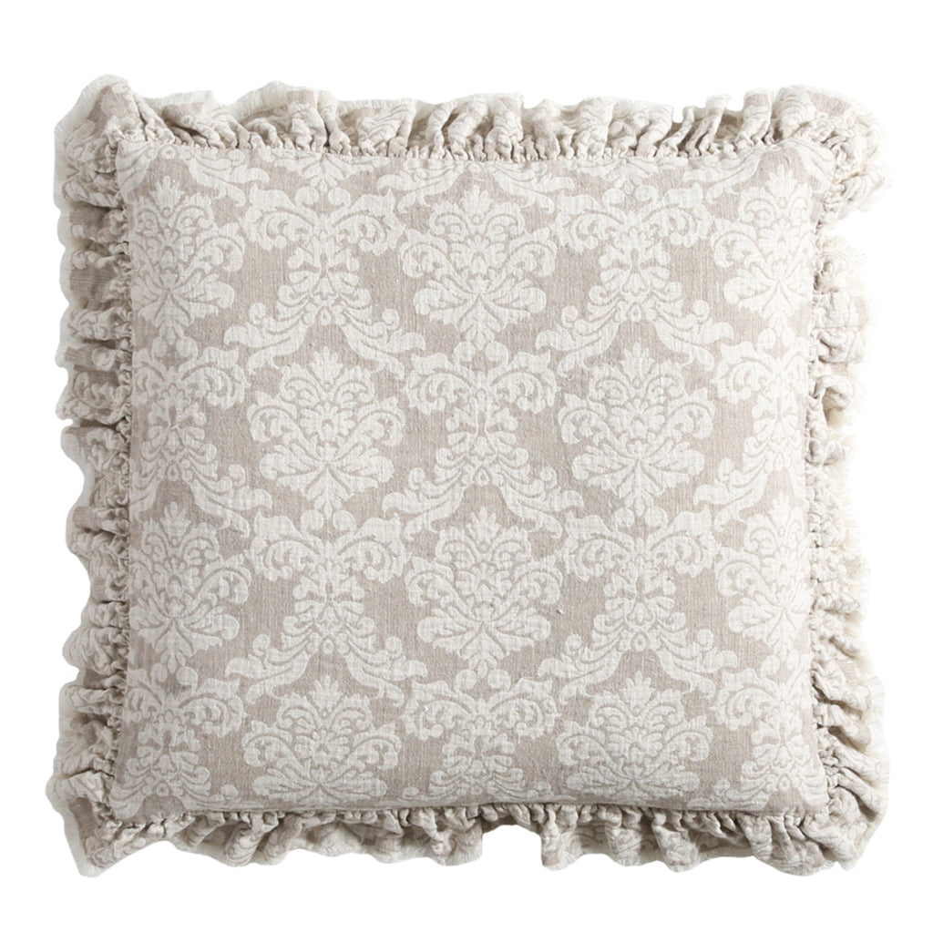 30% OFF Natural Woven Damask Raw Edge Pillow