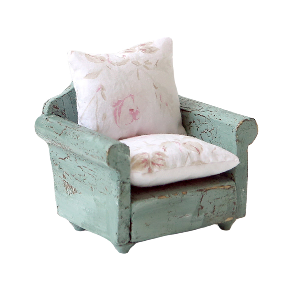 Dollhouse Furniture - Green Arm Chair & Footstool