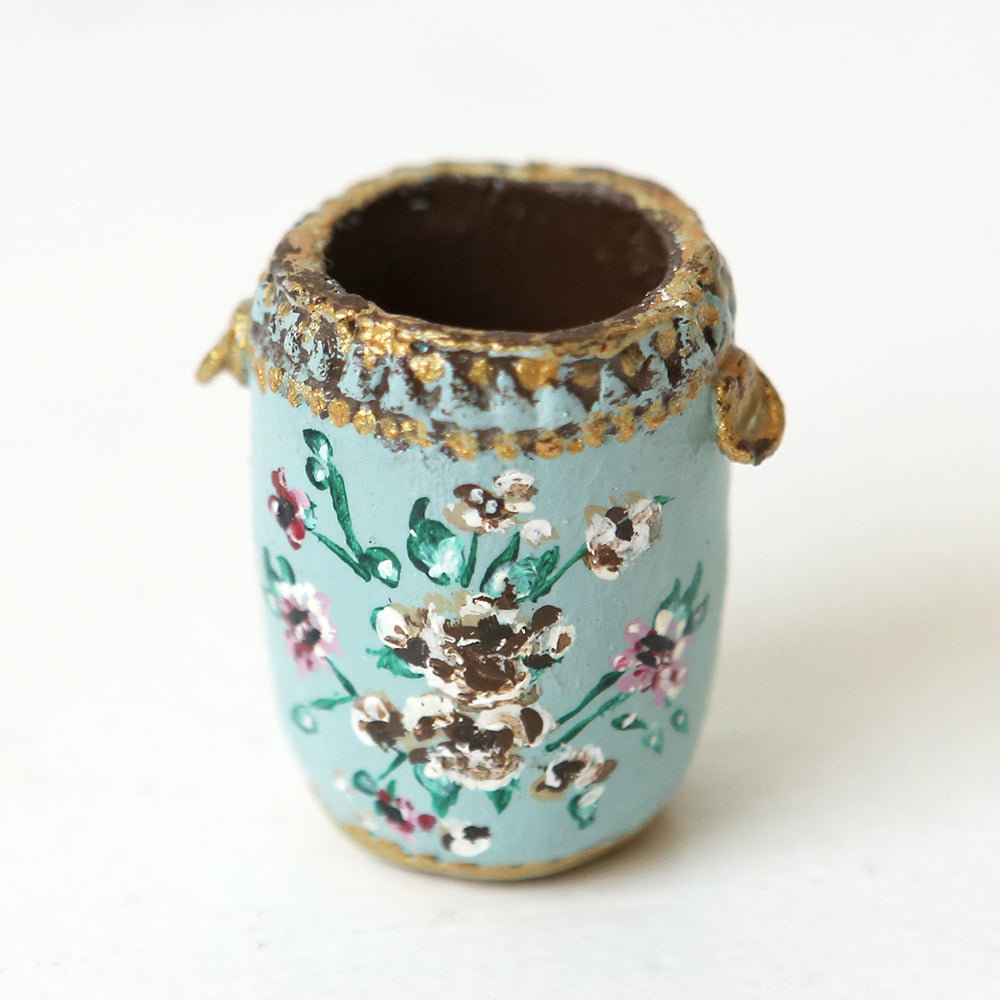 Dollhouse Furniture - Floral Trash Can