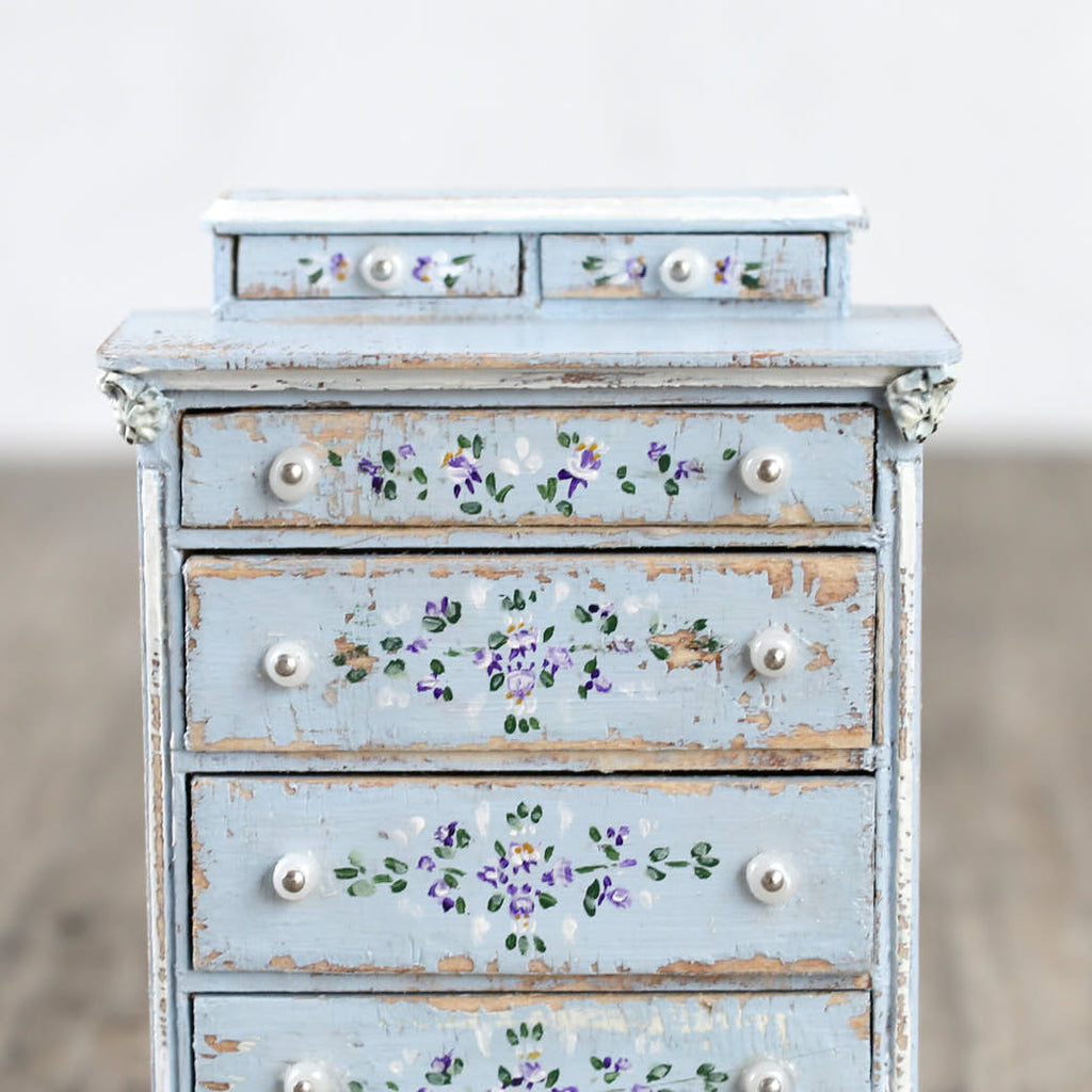 Dollhouse Furniture - Tall Blue Drawers