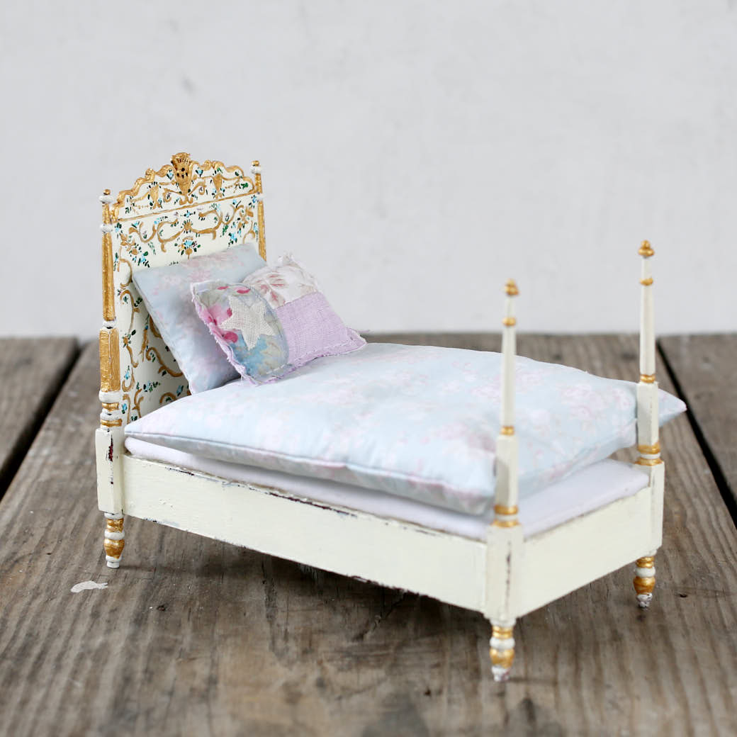 Dollhouse Furniture Floral Painted Spanish Bed Rachel Ashwell