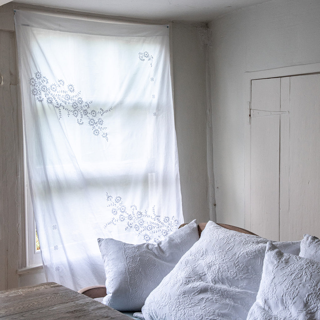 Floral Embroidered Voile Curtain