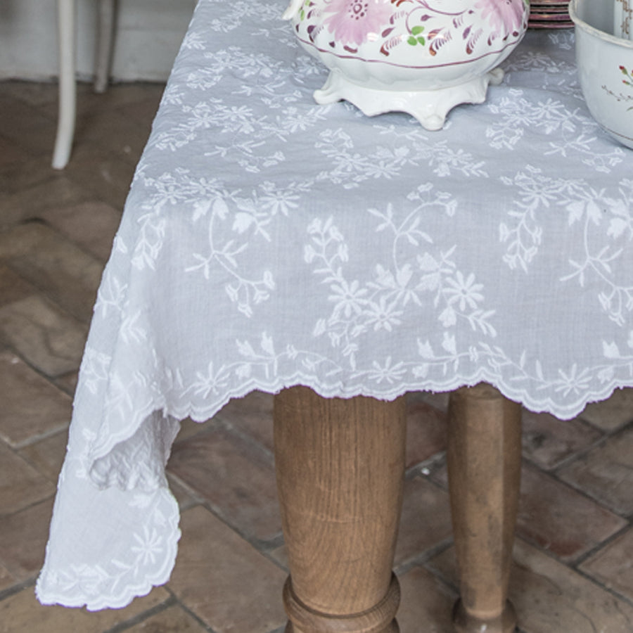 Embroidered Floral Tablecloth & Runner