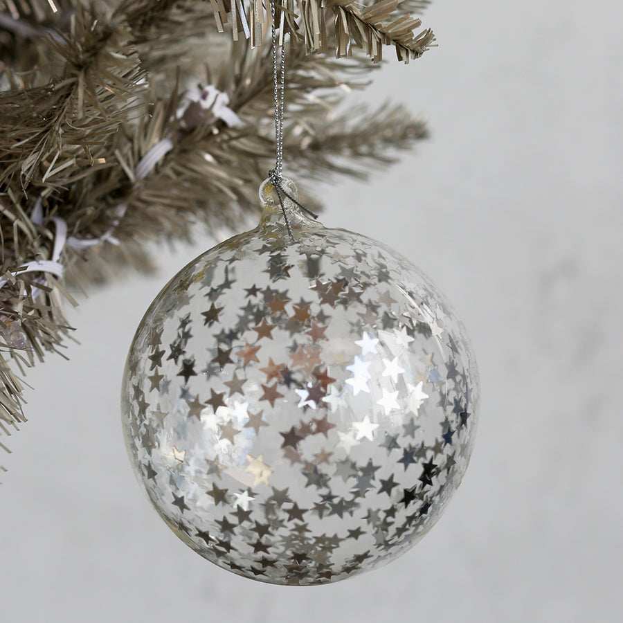 Star Cluster Ball Ornament - Silver