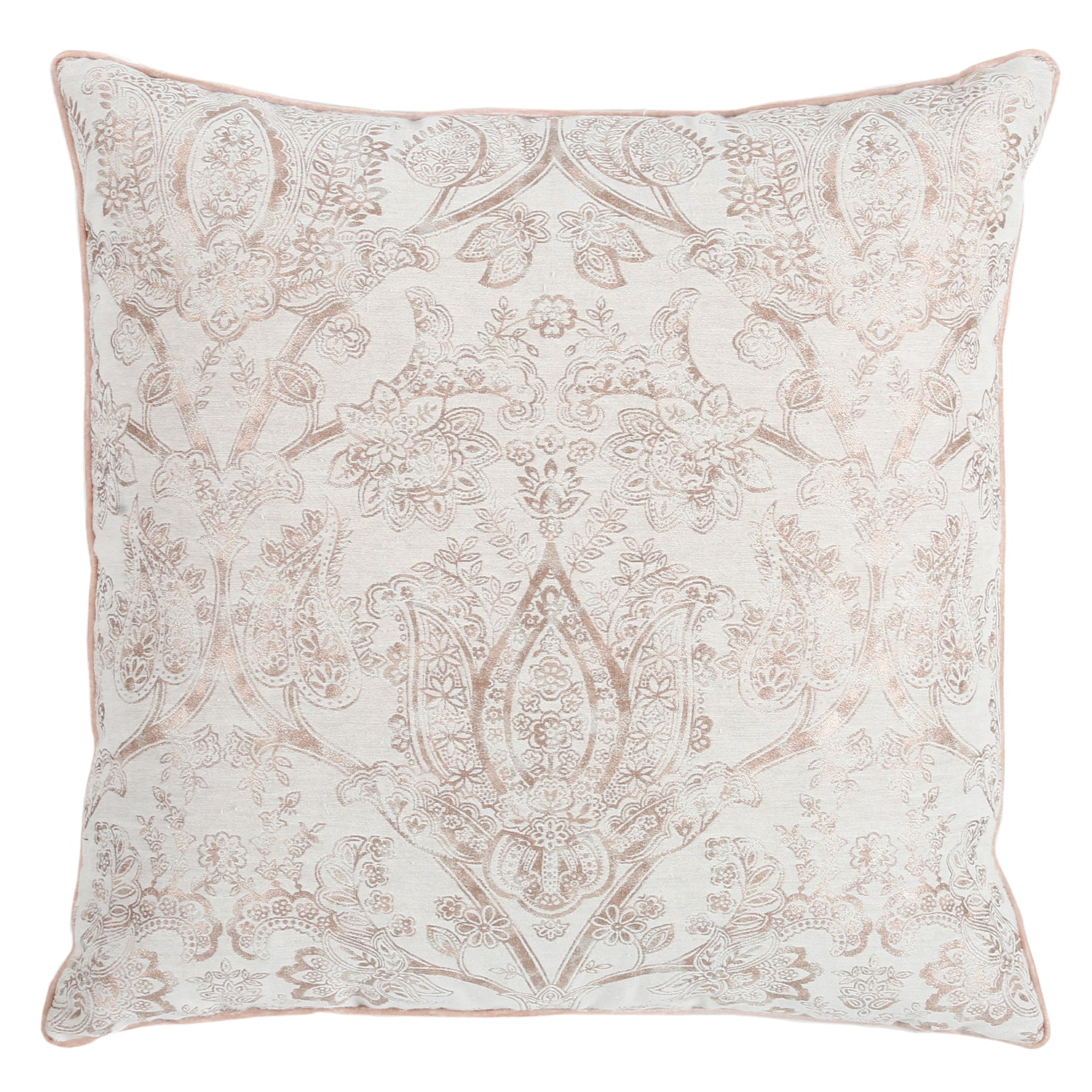 30% OFF Pink Damask With Velvet Trim Pillow