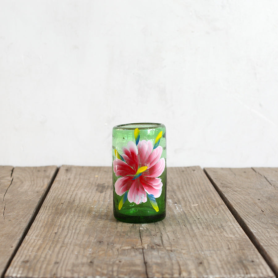 Green Floral Drinking Glasses