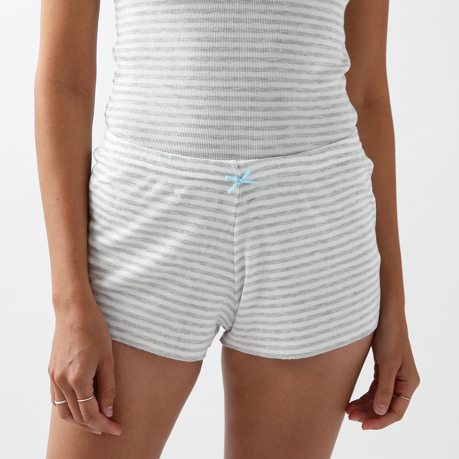 50% OFF Polkadot Sleep & Lounge Wear - Grey Stripe Shorts
