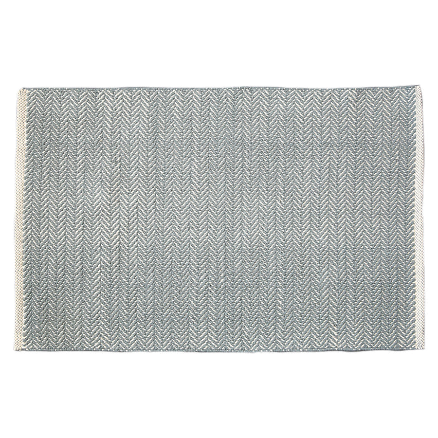 Herringbone Swedish Blue Cotton Rug
