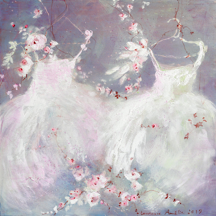 Laurence Amelie Original Painting - Two Purple Tutus