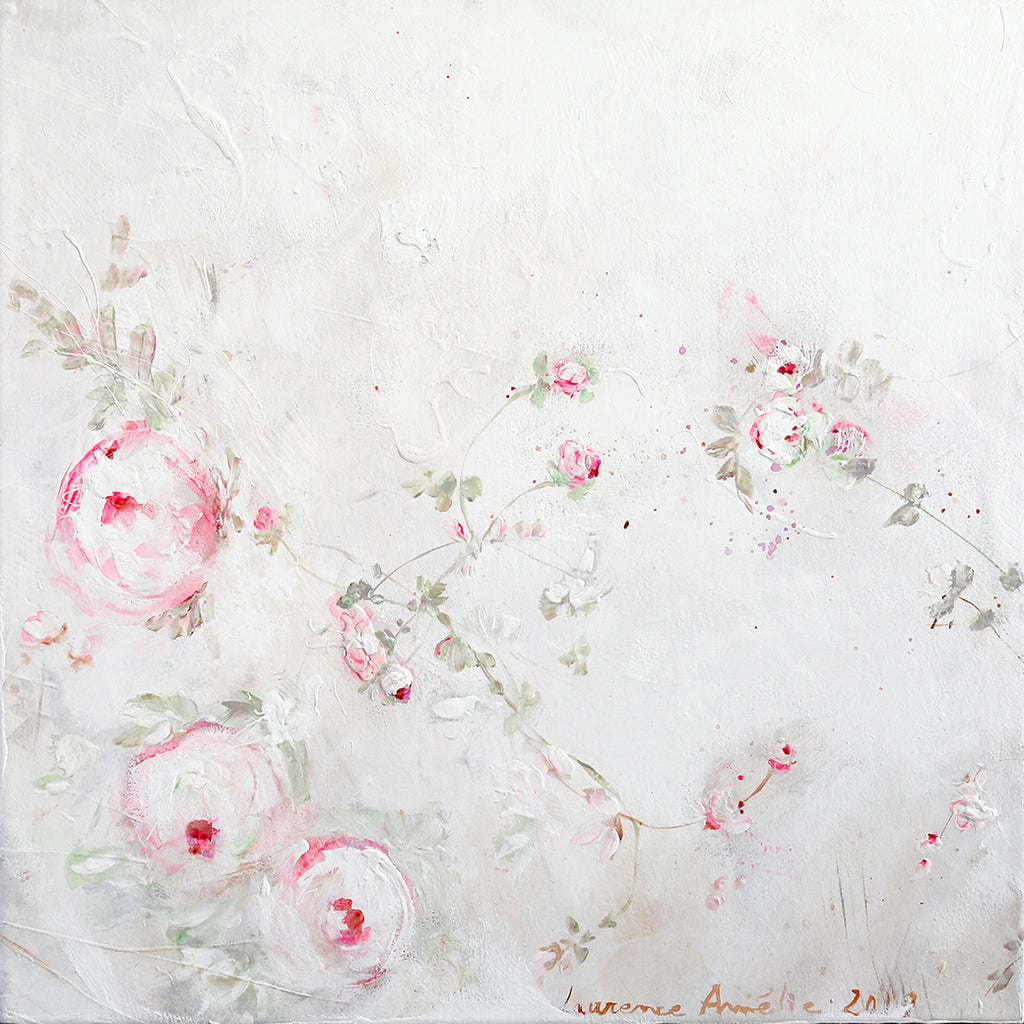 Laurence Amelie Original Painting - Pink White Floral 3 - Available in Santa Monica