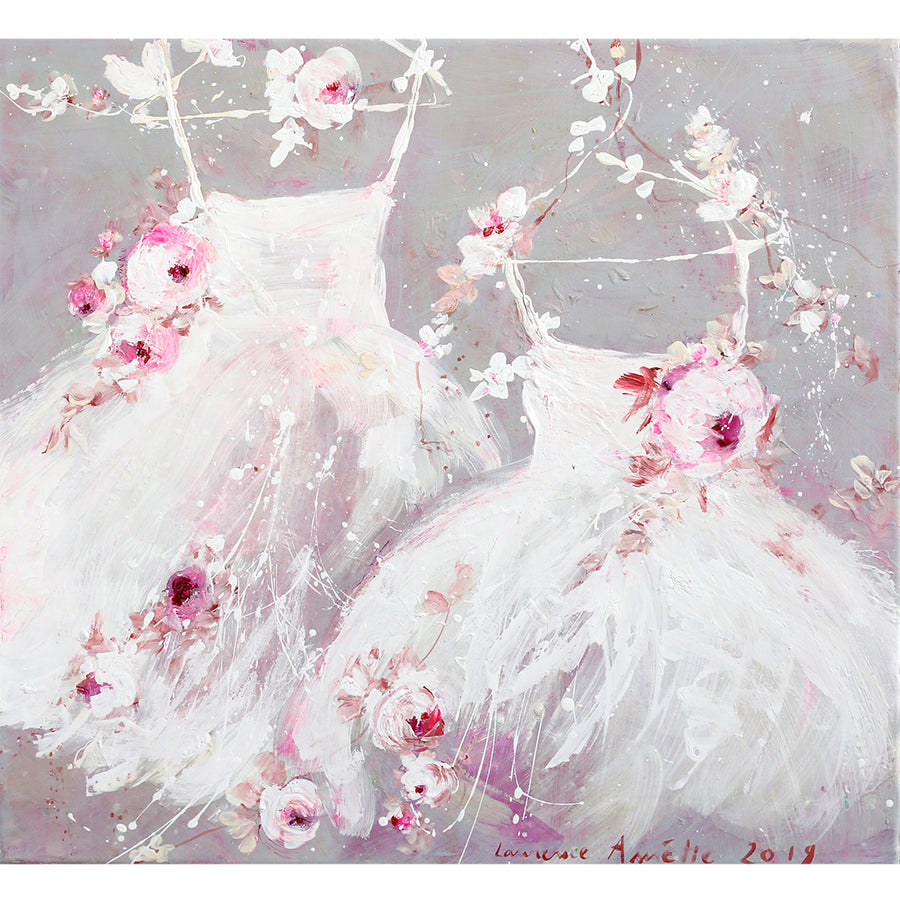 Laurence Amelie Original Painting - Two Pink Tutu's - Available in Santa Monica