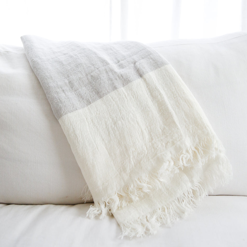 Ivory and Grey Linen Throw