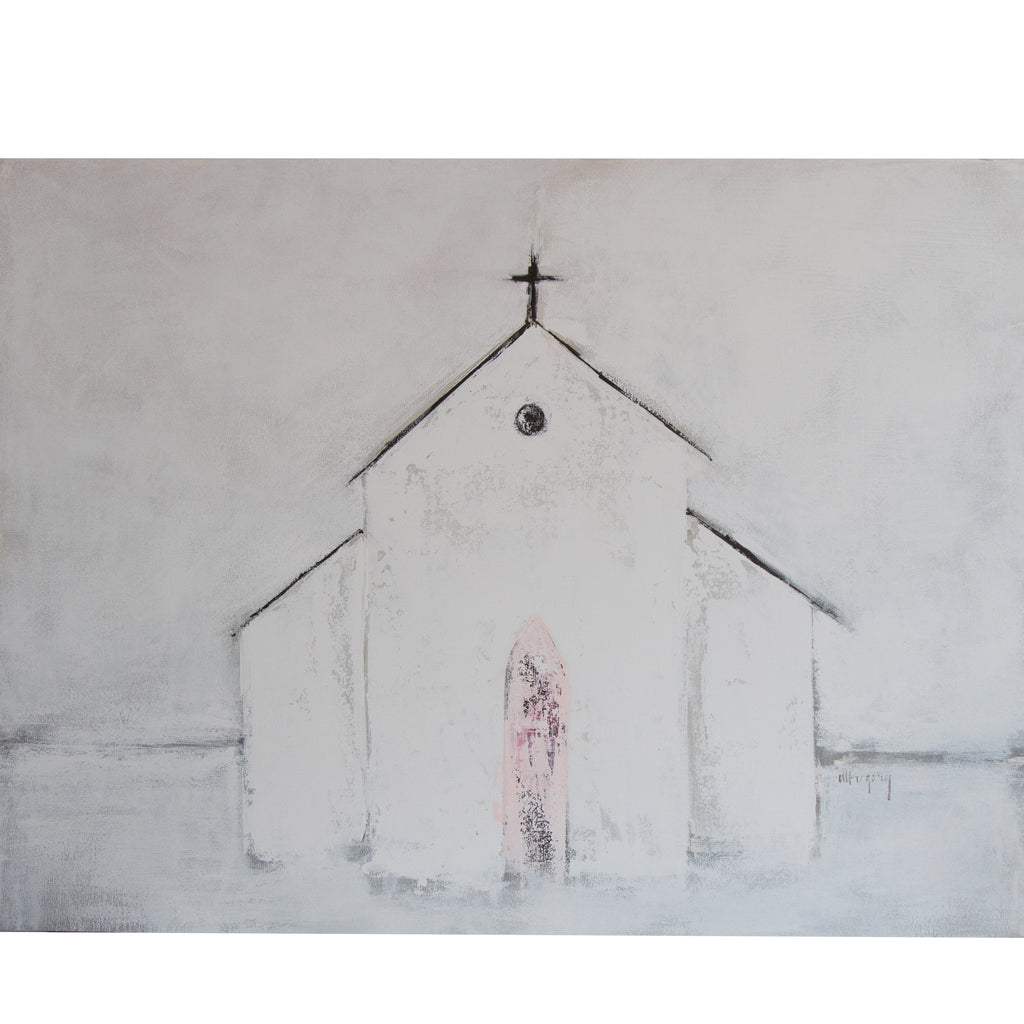 Mary Gregory Original Painting - White Church with Pink Door - Horizontal