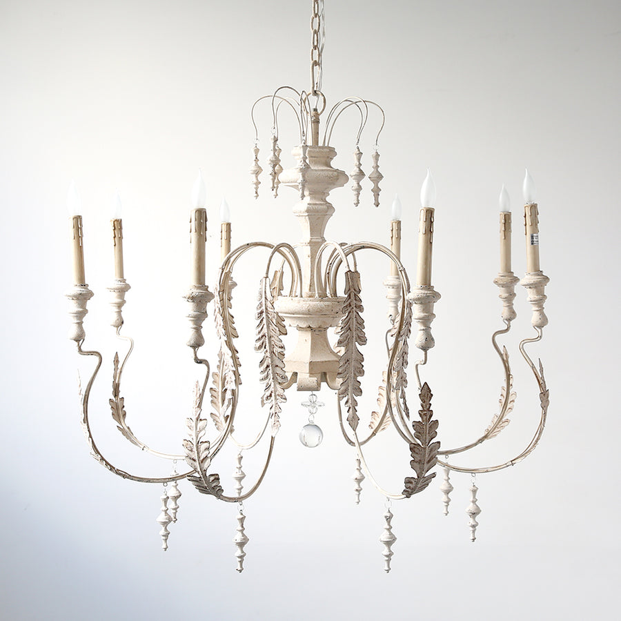 White 8 Light Chandelier